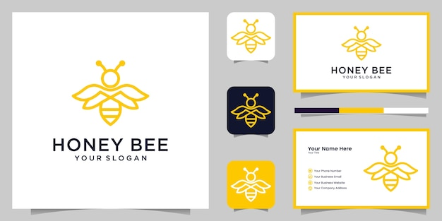 Bee honey creative icon symbol logo line art style linear logotype. logo , icon and business card
