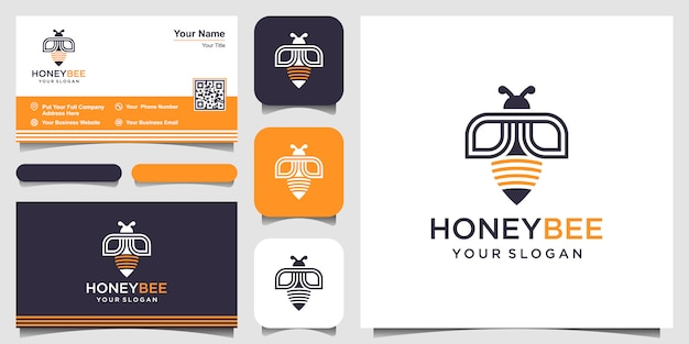 꿀벌 꿀 창조적 인 로고. 열심히 일하는 선형 로고. 로고 디자인, 아이콘 및 명함