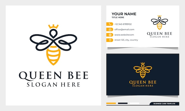 Bee honey creative   logo, queen bee linear logotype. logo design, icon and business card template