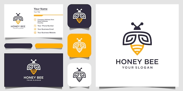 Bee honey creative   symbol logo. hard work linear logotype. logo design, icon and business card