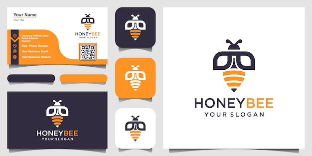 Bee honey creative   symbol logo. hard work linear logotype. logo , icon and business card
