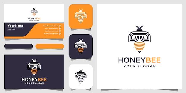꿀벌 꿀 창조적 인 벡터 아이콘 기호 로고입니다. 열심히 일하는 선형 로고. 로고 디자인, 아이콘 및 명함