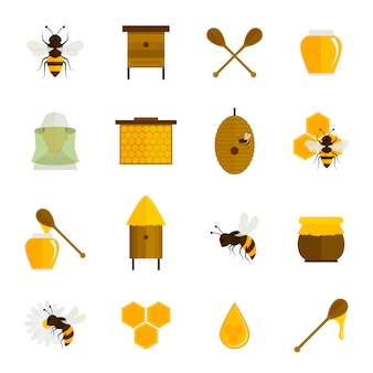 Bee honey icons flat set