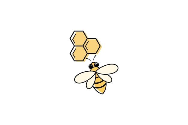 白い背景で隔離の蜂の蜂蜜のロゴデザインコンセプト