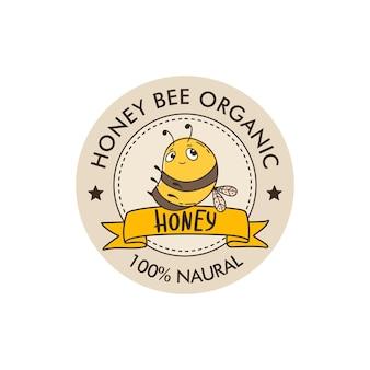 Шаблон дизайна логотипа пчелиного меда линейный стиль