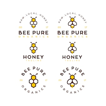 Bee honey logo template set