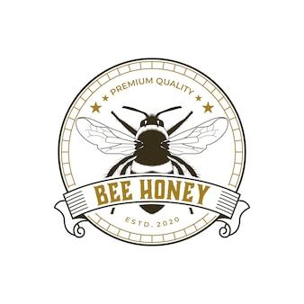 蜂蜂蜜プレミアムヴィンテージのロゴのテンプレート