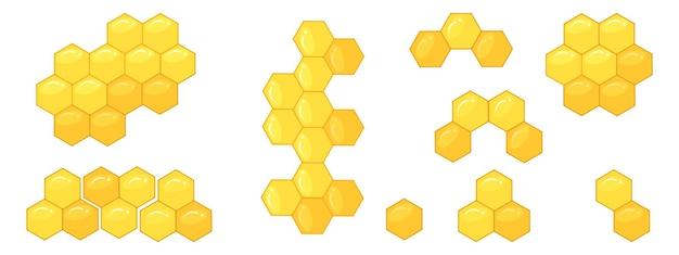 蜂の巣、六角形からのパターンのセット。蜂蜜の図のベクトルイラスト。