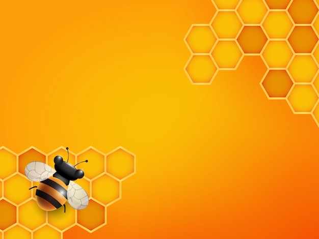 Bee and honeycomb background in orange color