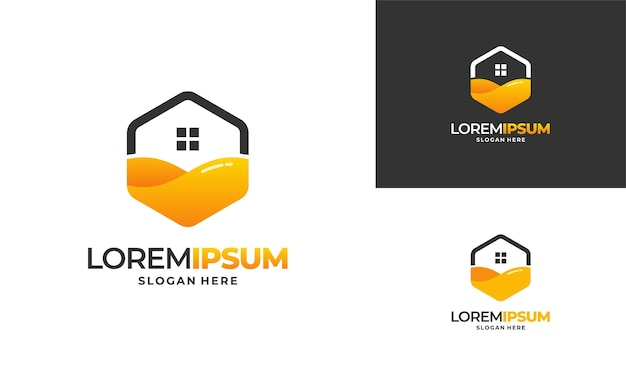 蜂の家のロゴデザインコンセプトベクトル、ハニーハウスファームロゴテンプレートベクトルイラスト