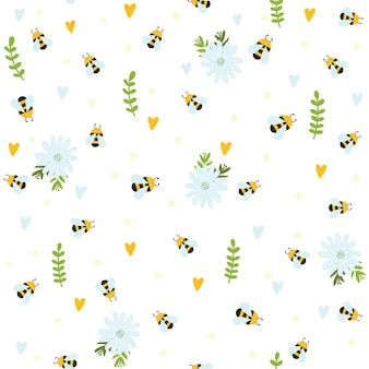 Пчелы насекомых мультфильм каракули бесшовный фон