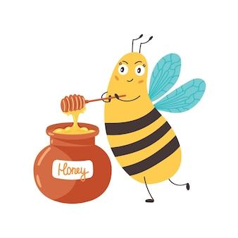 꿀벌은 항아리에 있는 꿀을 방해합니다. 땅벌은 꿀을 준비합니다. 캐릭터 재미있는 동물. 벡터 일러스트 레이 션