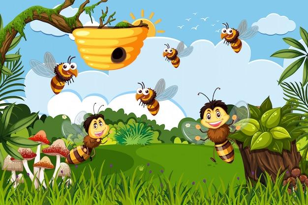 Bee in jungle scene