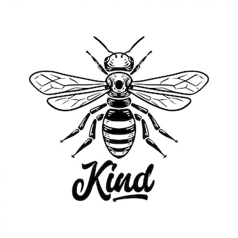 Bee kind quote with bee illustration