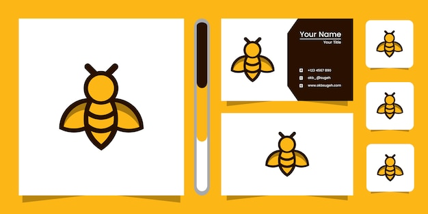 Bee line art logo design and business card