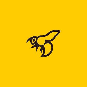 蜂の線画シンプルなミニマリストのロゴデザインインスピレーションベクトルイラスト
