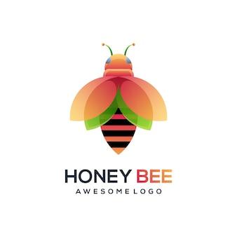 蜂のロゴのカラフルなグラデーションイラスト