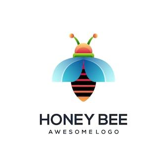 蜂のロゴカラフルなグラデーションイラスト