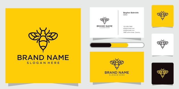 Bee logo design creative icon with stylish lines and business cards