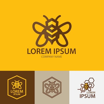 Bee logo design inspiration line art honey bee logo template