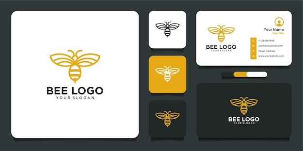 Bee logo design with line art  style and business card