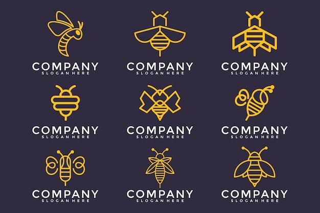 Дизайн логотипа пчелы с заданным стилем контура