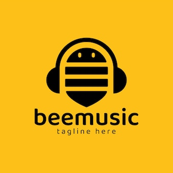 꿀벌 로고는 노란색으로 음악의 상징으로 헤드셋을 형성합니다.