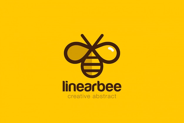 Bee logo linear vector icon.