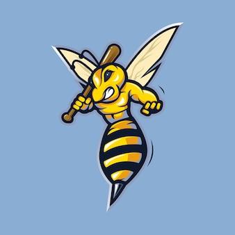 꿀벌 마스코트. 야구 스틱을 들고 벌