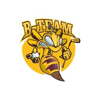 Bee mascot with golf equipment logo avispa