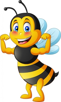 Bee mascot with two different sides