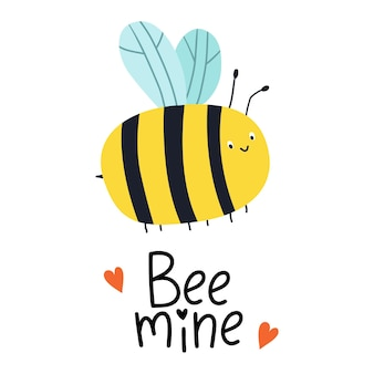 Bee mine greeting card with  bees and hand lettering for valentines day