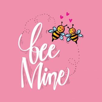 꿀벌 광산 핸드 레터링. 사랑 개념. 프리미엄 벡터