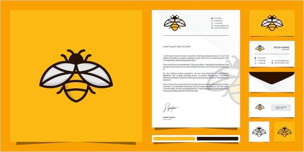 Bee monoline outline line logo design