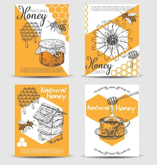 Bee natural honey hand drawn card template set