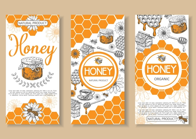 Bee natural honey poster, flyer, banner set. hand drawn honey natural organic product concept design elements for honey business advertising.