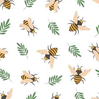 蜂のパターン。かわいい空飛ぶ蜂昆虫子供の壁紙や蜂蜜包装紙シームレスベクトル落書きテクスチャ。イラストハチ昆虫の飛行パターン
