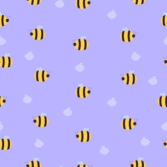 Шаблон пчелы в мультяшном плоском стиле