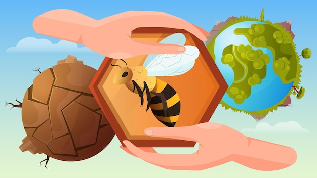 Bee protection illustration with human hands holding honeycomb at blooming and dead planet