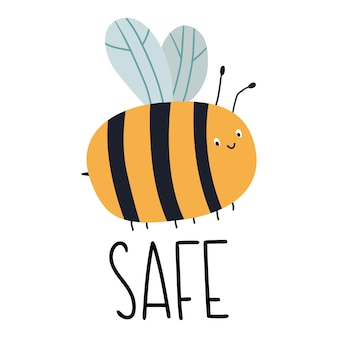 Bee safe stay home illustration with bee and hand lettering vector illustration