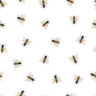 꿀벌 완벽 한 패턴입니다. 꿀벌의 검은색과 주황색 실루엣입니다. 비행 곤충. 미니멀리즘과 디자인의 단순함. 벡터 일러스트 레이 션.