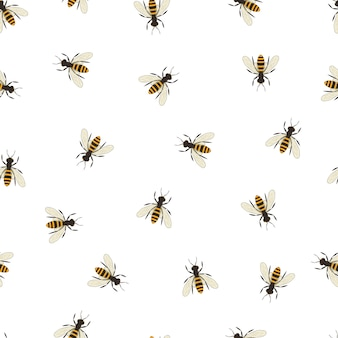 Bee seamless pattern. black and orange silhouette of the bee. flying insect. minimalism and simplicity of design. vector illustration.