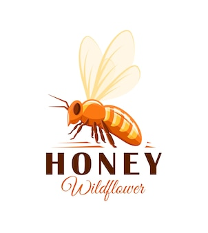 Bee, side view  on white background. honey label, logo, emblem concept.  illustration