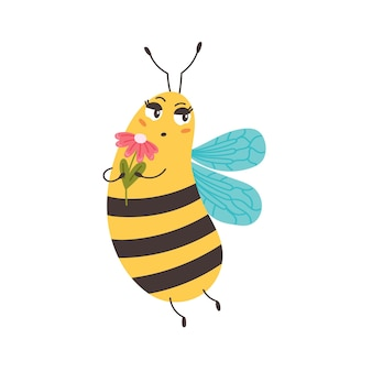 Bee sniffs flowers. bumblebees enjoy the scent of a flower bud. character funny animal. vector illustration