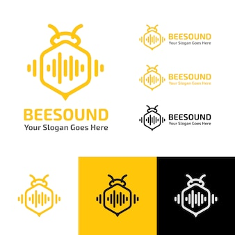 Bee Sound Wave Production Logo 템플릿 프리미엄 벡터