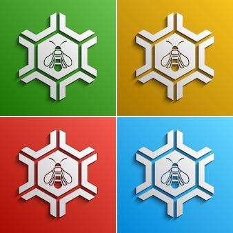 Стилизованный логотип пчелы, варианты цвета
