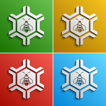 Bee stylized logo, color options,