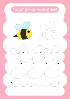 Bee trace lines writing and drawing practice worksheet for kids