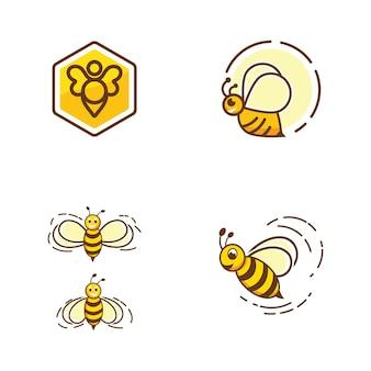 Bee vector icon illustration design template