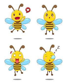 孤立したかわいい表情の蜂